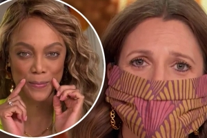 DWTS host Tyra Banks teaches Drew Barrymore to smize
