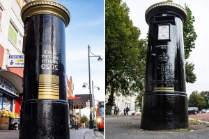 Red post boxes have been painted black to honour BAME Britons